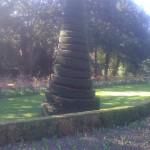 Topiary bush cut in a spiral