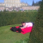 Having a rest in the structured gardens of Cliveden house